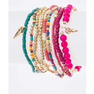 Jewelry - FIRM! 10 PC Neon Mix Beads Stretch Bracelet Set